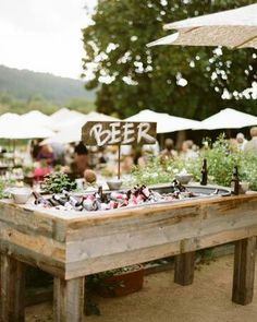 Rustic beer display for wedding cocktail hour, country wedding ideas, outdoor wedding reception Wedding Reception, Wedding Day, Wedding Backyard, Backyard Bbq, Diy Wedding Bar, Drinks Wedding, Wedding Photos, Wedding Bells, Beer Wedding