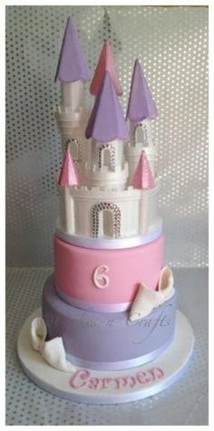 pink and lilac castle cake