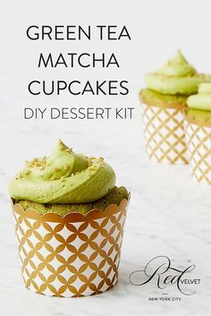 Everyone knows green tea contains loads of healthy antioxidants, but not everyone likes the taste of it. With these cupcakes, you get all the goodness of green tea, but in the form of a delicious dessert. It's a win-win! Our Green Tea Matcha cupcakes are infused with authentic matcha powder for a mature take on the classic cupcake. View this and our other dessert kit offerings at redvelvetnyc.com