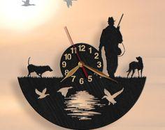 Jagd, Jäger Wanduhr, personalisierte hölzerne Uhr 12inch(30cm), Kunst-Wand-Dekor, Holz Uhr, modernes, Home Dekor, Geschenk-Idee