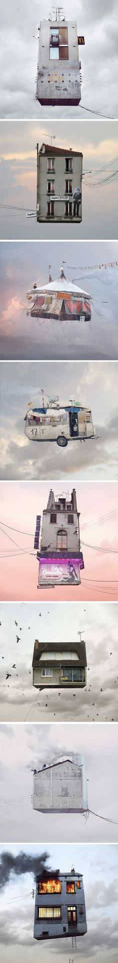 série Flying Houses par le photographe français Laurent Chéhère.