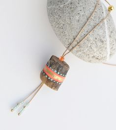 necklace - painted driftwood - by JEVO