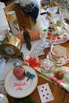 "Mad Tea Party anyone? ""Drink me"" says the bottle"