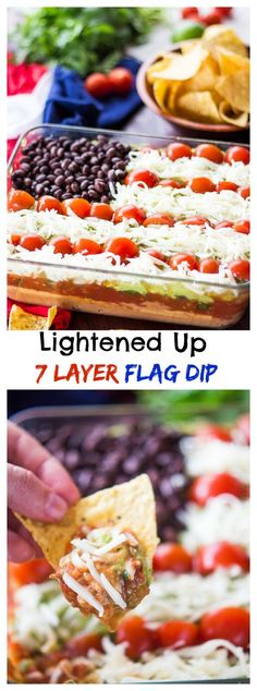 Lightened Up 7 Layer Dip is the perfect party food. By replacing sour cream with hummus and using reduced fat cheese, you save on calories without sacrificing flavor! Lightened Up 7 Layer Dip is the perfect party food. Dip Recipes, Summer Recipes, Appetizer Recipes, Holiday Recipes, Cooking Recipes, Recipies, Summer Snacks, Easy Recipes, Sin Gluten