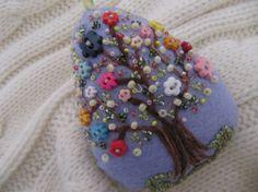 Easter+Decoration++Felt+Beaded+Egg+Ornament+in+by+MrsNeedleton,+$22.00