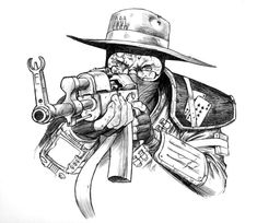 My New Vegas Character Sketch by Jedi-Art-Trick on DeviantArt Tattoo Design Drawings, Tattoo Designs, Photoshop Tattoo, Western Tattoos, Gangsta Tattoos, Comic Face, Dope Cartoon Art, Tattoo Lettering Fonts, Totenkopf Tattoos