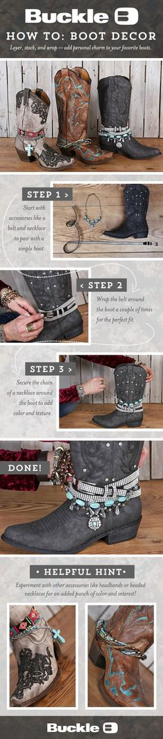How To Wear Belts BOHEMIAN BOOTS I'm gonna make these! - Discover how to make the belt the ideal complement to enhance your figure. Botas Hippy, Botas Boho, How To Wear Converse, Converse Shoes, Adidas Shoes, Cowgirl Boots, Western Boots, Boot Dekor, Mode Country