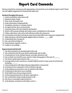 Report Card Comments Labels : 60 Comments: Beginning, Middle & End ...
