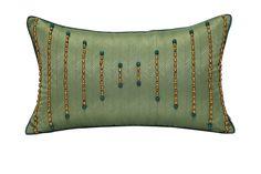 元熙壹品现代/中式样板房/别墅抱枕/浅绿暗纹布手工钉珠装饰枕