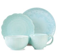 Fitz and Floyd 20-279 Peacock 4-Piece Dinnerware Set, Turquoise: Amazon.ca: Home & Kitchen