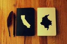 Moleskine journal with country/state di TheNotebookExplorer, $20.00
