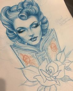 Tattoo design by teniele sadd tattoo sketches Traditional Tattoo Drawings, Traditional Tattoo Design, Traditional Tattoo Makeup, Traditional Tattoo Woman Face, Neo Traditional Art, Traditional Tattoos, American Traditional, Face Tattoos For Women, Tattoo Portfolio