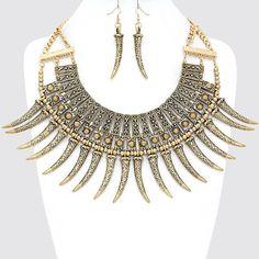 Russian Gold Tribal Horn Necklace Bib Collar Pendant Chain Earring Set #Unbranded #BibCollarPendant
