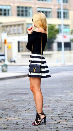 Glam Outfit! Black White Pinstripe Mini with a Cute Off the Shoulder Top, Adorable Black Strappy Heels!