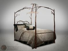 This fairytale-like canopy bed reminds me of Snow White. Stone County Ironworks #914349