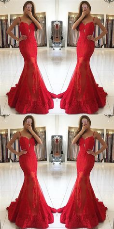 Formal spaghetti straps mermaid red long evening dress #prom #dresses #longpromdress #promdress #eveningdress #promdresses #partydresses #mermaidpromdresses #redpromdresses