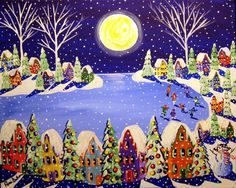 Winter Folk Art Ice Skaters Christmas Fun by reniebritenbucher