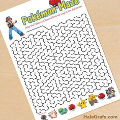 FREE printable Pokemon maze …