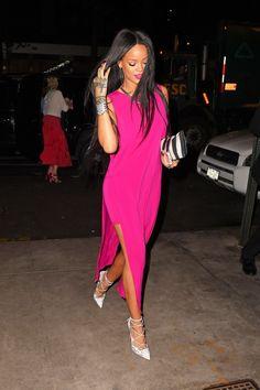 rihanna pink dress white heels: Rihanna Gives Us a Major Reason to Wear Pink via Mode Rihanna, Rihanna Style, Rihanna Fenty, Alexa Chung, Celebrity Outfits, Celebrity Style, Divas, Hot Pink Dresses, Fuchsia Dress