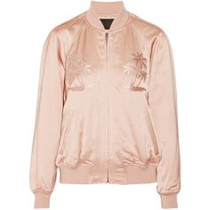 Alexander Wang Embroidered satin bomber jacket ($745) ❤ liked on Polyvore featuring outerwear, jackets, bomber jacket, tops, satin jackets, palm tree jacket, bomber style jacket, pink jacket and flight jacket