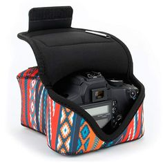 USA GEAR DSLR Camera Sleeve Case (Southwest) with Neoprene Protection, Holster Belt Loop and Accessory Storage - Compatible with Nikon Canon EOS Rebel Pentax and Nikon D3300, Dslr Nikon, Dslr Camera Bag, Camera Case, Canon Eos Rebel, Usa Gear, Expensive Camera, Camera Deals, Camera Equipment
