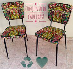 Conjunto de cadeiras reinauguradas #movelcolorido #cadeira #cadeiracolorida #upcycling #60's #furnituremakeover #upcycledfurniture #furniture #cadeiras #movel #chair #chairsmakeover #chairs