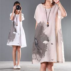 Loose ink printing cotton dress linen clothing , womens casual summer dress