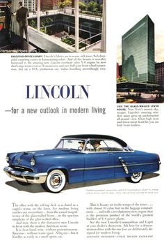1952 Lincoln Cosmopolitan - for a new outlook in modern living - Original Ad