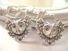 Silver owl plugs 22mm 7/8 gauged stretched ears by DinaFragola, $24.00