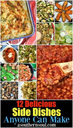 This collection of Twelve Delicious Side Dishes includes recipes that anyone can. This collection of Twelve Delicious Side Dishes includes recipes that anyone can make! Roasted Peas, Best Baked Beans, Main Dishes, Side Dishes, Grilled Sweet Potatoes, Pesto Salad, Twice Baked Potatoes Casserole, Southern Recipes, Southern Food