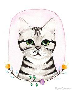Awesome Etsy listing at https://www.etsy.com/pt/listing/230587786/silver-tabby-portrait-original-cat-folk