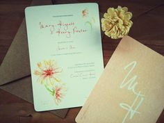 Items Similar To Watercolour Flower Bespoke Wedding Invitation With Matching Envelope Sold In S On Etsy