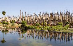 Pagodas in Kakku, a few hours drive from Inle Lake in Burma/Myanmar.