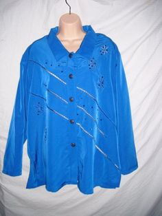 womens blouse plus 1X dark blue long sleeve beaded Jacket shirt top #GreatCavalierstPaul #Blouse #Career