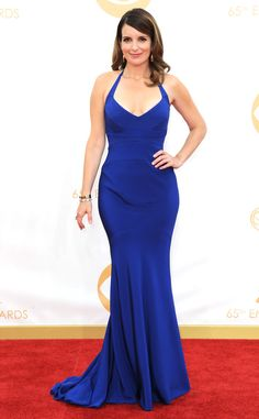Tina Fey is beautiful in blue at the #Emmys in this stunning Narciso Rodriguez dress! #fashion
