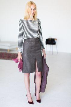 High Skirt - Mocha Herringbone