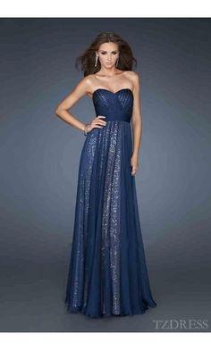 Fashion Dark Navy Sleeveless Chiffon Natural Prom Dresses tzdress3581