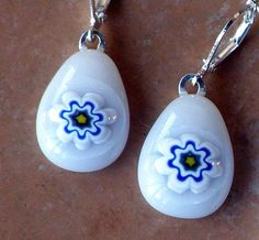 Fused Glass Earrings - Blue Flower or Snowflake on White Glass created by GreenhouseGlassworks $15