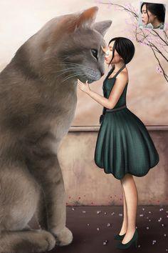 Peinture fantaisie d'une jeune femme avec son chat. Commandez le votre sur : portrait-perso.com