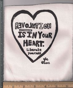 Revolution is in your heart. Liberate yourself punk crust diy patch.