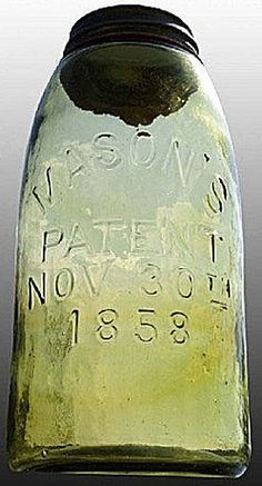 Mason's, Patent Nov 30th 1858, Yellow Olive, 12 Gallon.A half-gallon medium yellow olive Mason's Patent Nov 30th 1858 glass fruit or canning jar