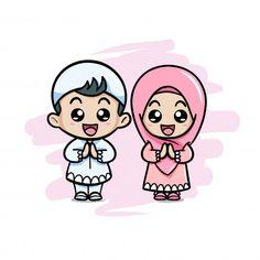 Cute couple moslem kids greeting salaam Premium Vector Cute Couple Art, Cute Couples, Cartoon Kids, Cute Cartoon, Quran Book, Kids Vector, Vector Free, Eid Cards, Islamic Cartoon