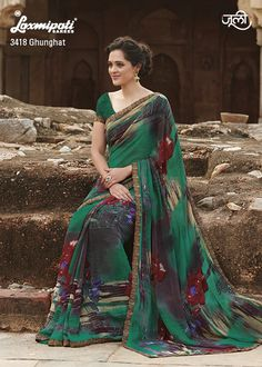 Green floral printed sari with black strip border Green georgette printed Comes with matching unstitched blouse material Laxmipati Sarees, Georgette Sarees, Indian Sarees, Indian Dresses, Indian Outfits, Suits For Women, Clothes For Women, Indian Clothes Online, Traditional Fashion