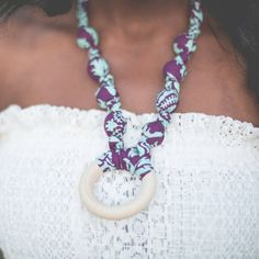 Teething Ring Necklace in Purple & Teal Damask Ring - The Vintage Honey Shop