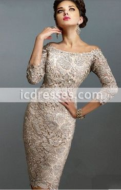 2016 New Arrival Champagne Lace Elegant mother of the bride dresses fashion Knee length brides mother dresses for weddings Plus Size - IcDresses.com