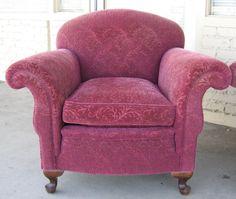 1930s maroon chenille armchair
