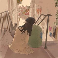 Cute Couple Drawings, Cute Couple Art, Anime Love Couple, Cute Drawings, Couple Illustration, Illustration Art, Aesthetic Art, Aesthetic Anime, Korean Art