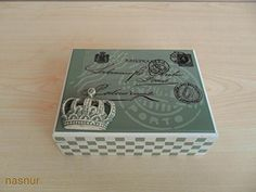 kutu ahsapboyama stencil box woodpaint handmade #green #sage #stamp #post #adress #king #crown #postcard