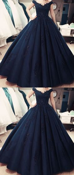 6aa8eb21bb Vintage Royal Blue Satin Ball Gowns Wedding Dresses Lace Cap Sleeves. Formal  Evening DressesBall Gown ...