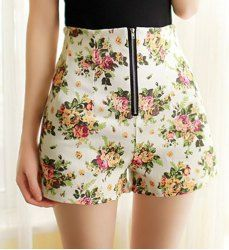Stylish High-Waisted Zippered Floral Print Women's Shorts